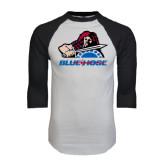 White/Black Raglan Baseball T-Shirt-Mascot