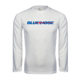 Syntrel Performance White Longsleeve Shirt-Blue Hose
