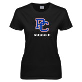 College Ladies Black T Shirt-Soccer