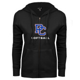 College ENZA Ladies Black Fleece Full Zip Hoodie-Softball