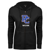 College ENZA Ladies Black Fleece Full Zip Hoodie-Mom