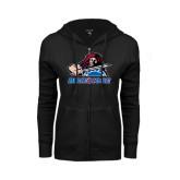 ENZA Ladies Black Fleece Full Zip Hoodie-Mascot