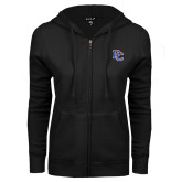 ENZA Ladies Black Fleece Full Zip Hoodie-PC