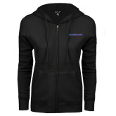ENZA Ladies Black Fleece Full Zip Hoodie-Blue Hose