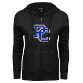 College ENZA Ladies Black Fleece Full Zip Hoodie-PC