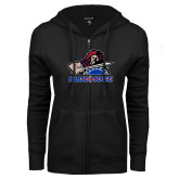 College ENZA Ladies Black Fleece Full Zip Hoodie-Mascot