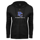 College ENZA Ladies Black Fleece Full Zip Hoodie-Basketball