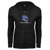 College ENZA Ladies Black Fleece Full Zip Hoodie-Volleyball