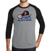 Grey/Black Tri Blend Baseball Raglan-Mascot
