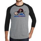 Grey/Black Tri Blend Baseball Raglan-Mascot