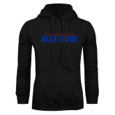 College Black Fleece Hoodie-Presbyterian College Blue Hose Stacked
