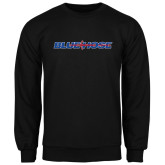 College Black Fleece Crew-Blue Hose
