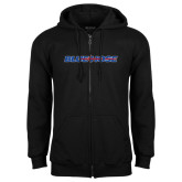 Black Fleece Full Zip Hood-Blue Hose