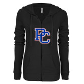 ENZA Ladies Black Light Weight Fleece Full Zip Hoodie-PC