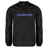 College V Neck Black Raglan Windshirt-Blue Hose