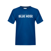 College Youth Royal T Shirt-Presbyterian College Blue Hose Stacked