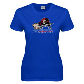 College Ladies Royal T Shirt-Mascot