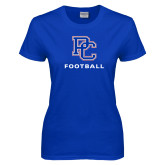 College Ladies Royal T Shirt-Football