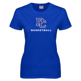College Ladies Royal T Shirt-Basketball