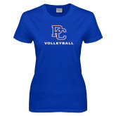 College Ladies Royal T Shirt-Volleyball