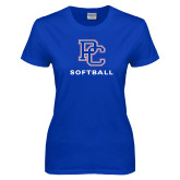 College Ladies Royal T Shirt-Softball