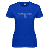 College Ladies Royal T Shirt-Presbyterian College w PC