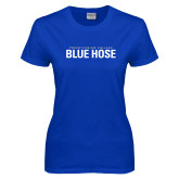 College Ladies Royal T Shirt-Presbyterian College Blue Hose Stacked