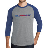 Grey/Royal Heather Tri Blend Baseball Raglan-Blue Hose