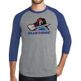Grey/Royal Heather Tri Blend Baseball Raglan-Mascot