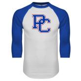 White/Royal Raglan Baseball T Shirt-PC