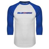 Presbyterian White/Royal Raglan Baseball T Shirt-Blue Hose