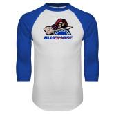 White/Royal Raglan Baseball T Shirt-Mascot