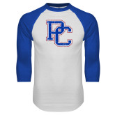Presbyterian White/Royal Raglan Baseball T Shirt-PC Distressed