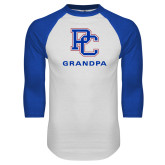 Presbyterian White/Royal Raglan Baseball T Shirt-Grandpa