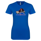 College Next Level Ladies SoftStyle Junior Fitted Royal Tee-Mascot