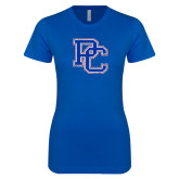 College Next Level Ladies SoftStyle Junior Fitted Royal Tee-PC Distressed