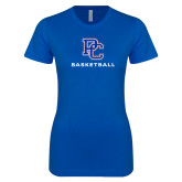 College Next Level Ladies SoftStyle Junior Fitted Royal Tee-Basketball