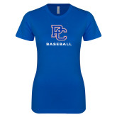 College Next Level Ladies SoftStyle Junior Fitted Royal Tee-Baseball