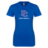 College Next Level Ladies SoftStyle Junior Fitted Royal Tee-Softball