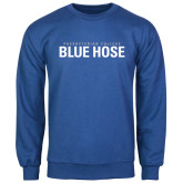 Royal Fleece Crew-Presbyterian College Blue Hose Stacked