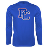 College Performance Royal Longsleeve Shirt-PC Distressed