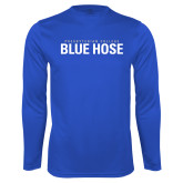 College Performance Royal Longsleeve Shirt-Presbyterian College Blue Hose Stacked