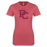 Next Level Ladies SoftStyle Junior Fitted Pink Tee-PC Hot Pink Glitter