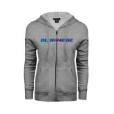 Ladies Grey Fleece Full Zip Hoodie-Blue Hose
