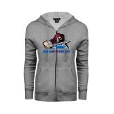Ladies Grey Fleece Full Zip Hoodie-Mascot