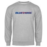 Grey Fleece Crew-Blue Hose