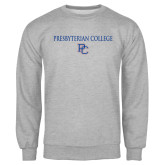 College Grey Fleece Crew-Presbyterian College w PC