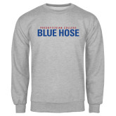 Grey Fleece Crew-Presbyterian College Blue Hose Stacked