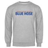 Grey Fleece Crew-Presbyterian College Blue Hose Stacked