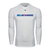 Under Armour White Long Sleeve Tech Tee-Blue Hose